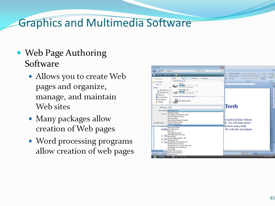 Graphics and Multimedia Software Web Page Authoring Software Allows you to create Web pages and organize, manage, and maintain Web sites Many packages allow creation of Web pages Word processing programs allow creation of web pages 40