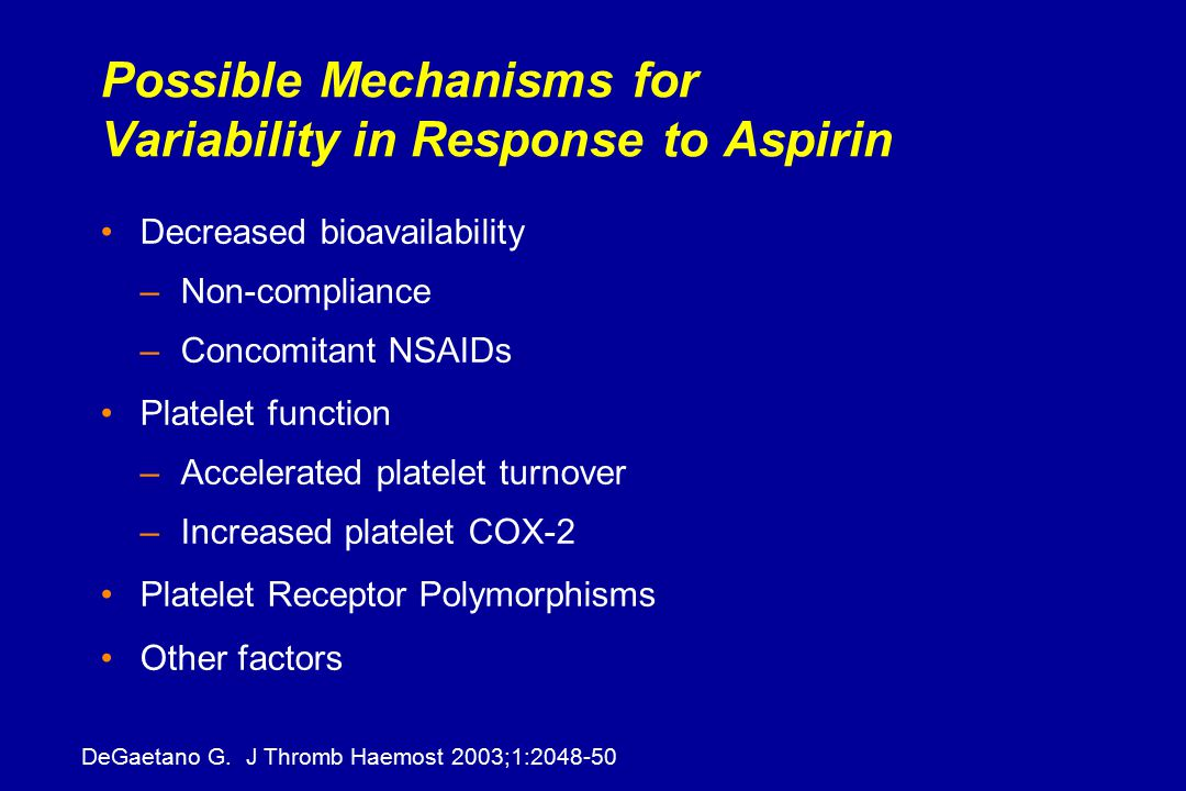 Possible Mechanisms for Variability in Response to Aspirin Decreased bioavailability –Non-compliance –Concomitant NSAIDs Platelet function –Accelerated platelet turnover –Increased platelet COX-2 Platelet Receptor Polymorphisms Other factors DeGaetano G.