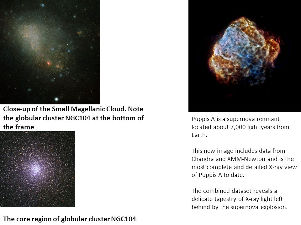 Close-up of the Small Magellanic Cloud. Note the globular cluster NGC104 at the bottom of the frame The core region of globular cluster NGC104 Puppis