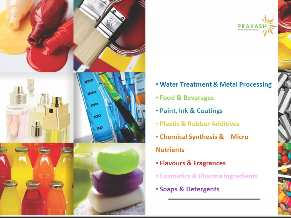 Water Treatment & Metal Processing Food & Beverages Paint, Ink & Coatings Plastic & Rubber Additives Chemical Synthesis & Micro Nutrients Flavours & Fragrances Cosmetics & Pharma Ingredients Soaps & Detergents