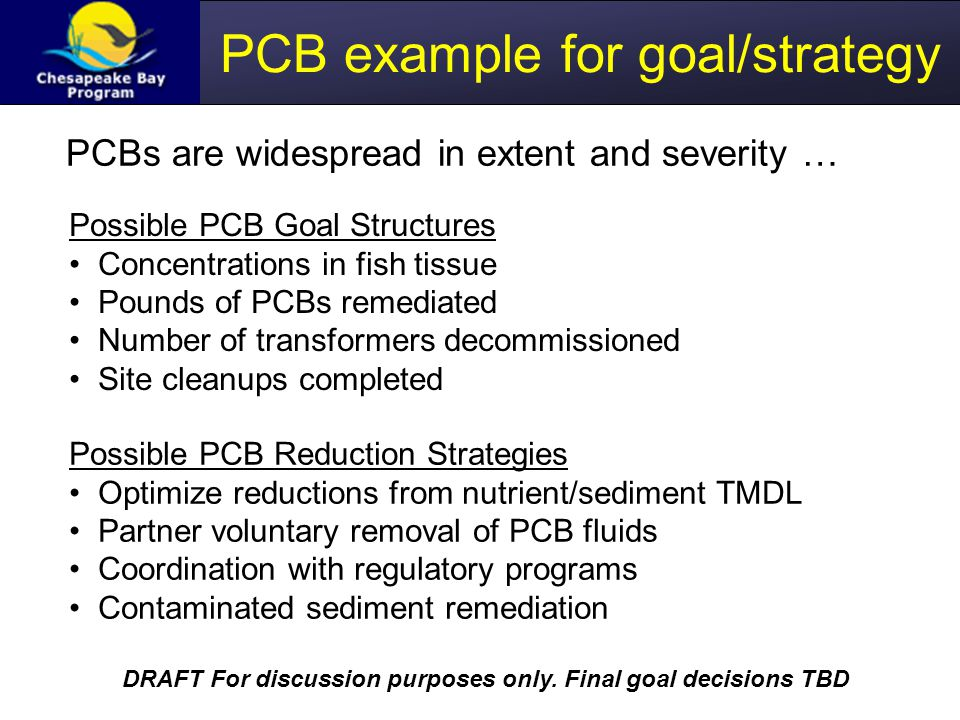 PCB example for goal/strategy PCBs are widespread in extent and severity … Possible PCB Goal Structures Concentrations in fish tissue Pounds of PCBs remediated Number of transformers decommissioned Site cleanups completed Possible PCB Reduction Strategies Optimize reductions from nutrient/sediment TMDL Partner voluntary removal of PCB fluids Coordination with regulatory programs Contaminated sediment remediation DRAFT For discussion purposes only.