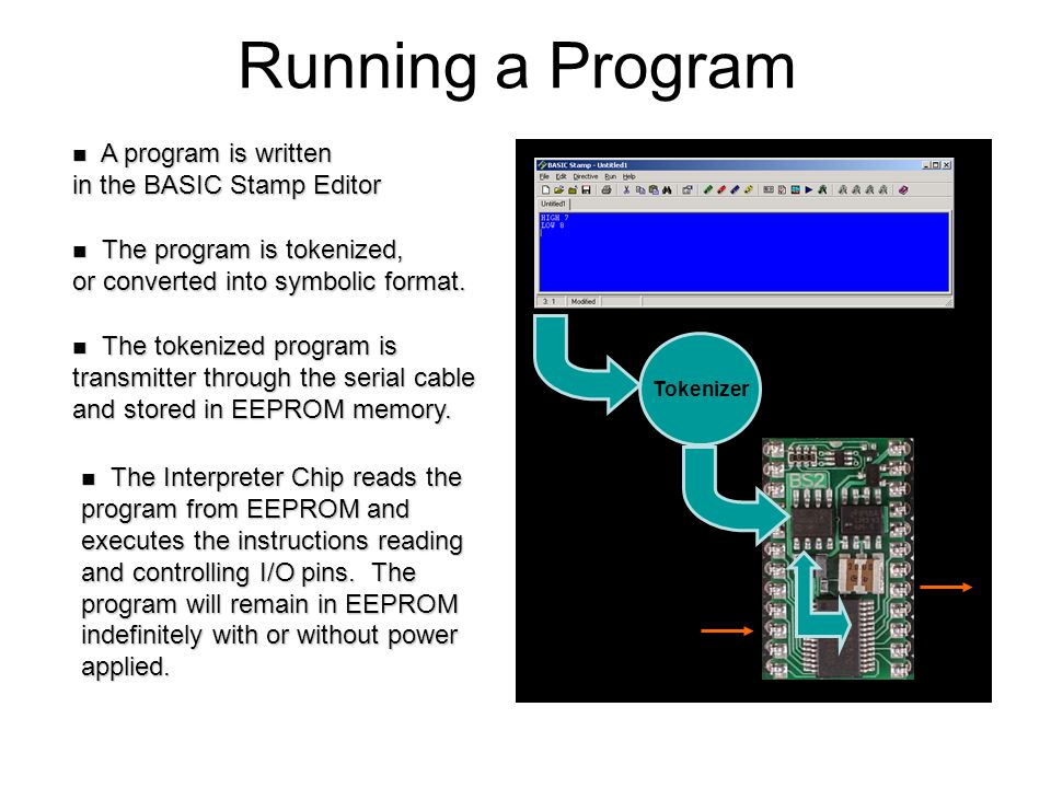 Running a Program A program is written in the BASIC Stamp Editor A program is written in the BASIC Stamp Editor The Interpreter Chip reads the program from EEPROM and executes the instructions reading and controlling I/O pins.