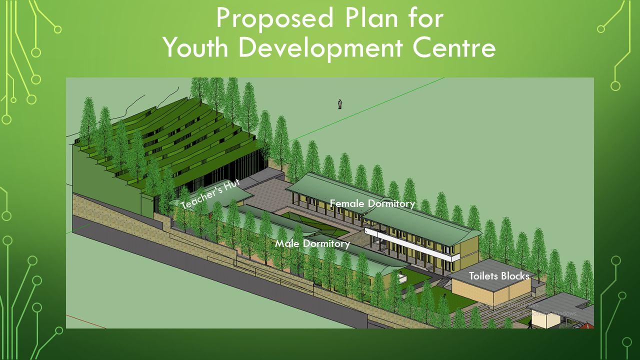 Proposed Plan for Youth Development Centre Toilets Blocks Female Dormitory Male Dormitory Teacher's Hut