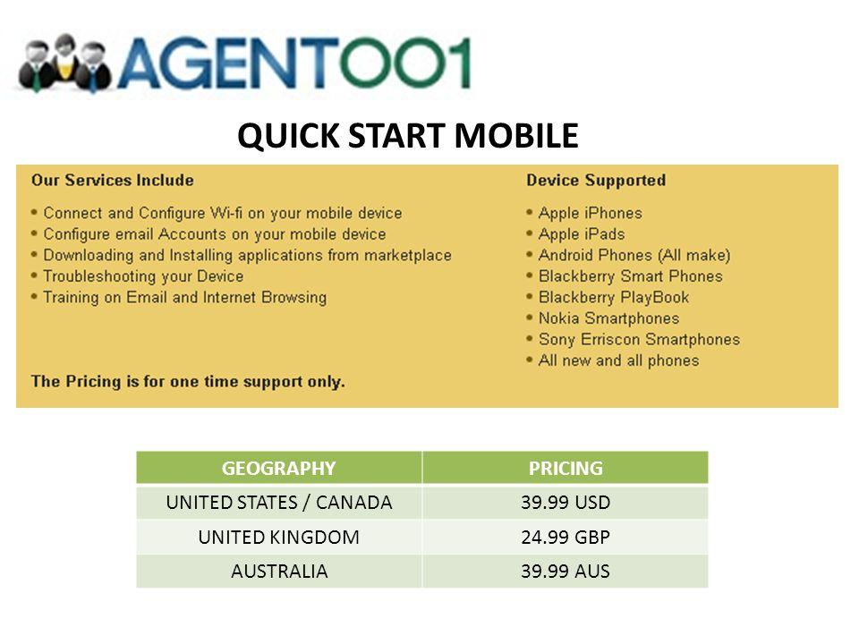 QUICK START MOBILE GEOGRAPHYPRICING UNITED STATES / CANADA39.99 USD UNITED KINGDOM24.99 GBP AUSTRALIA39.99 AUS