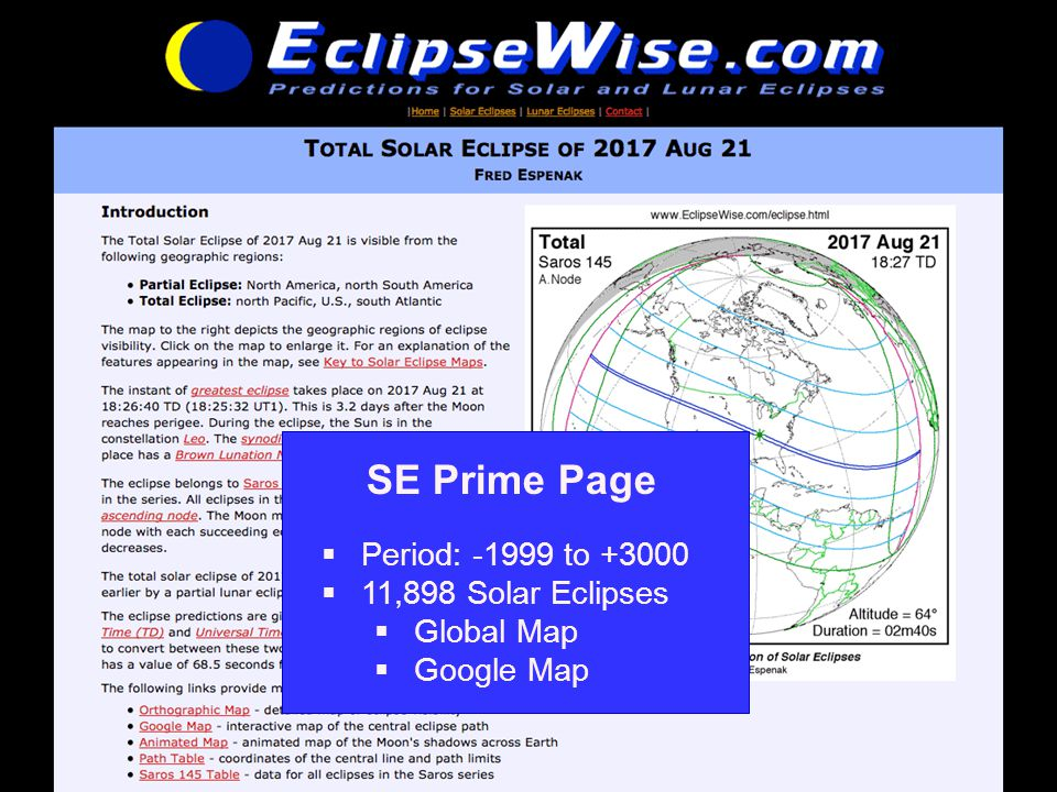 www.EclipseWise.com/solar/SEprime-1 SE Prime Page  Period: -1999 to +3000  11,898 Solar Eclipses  Global Map  Google Map