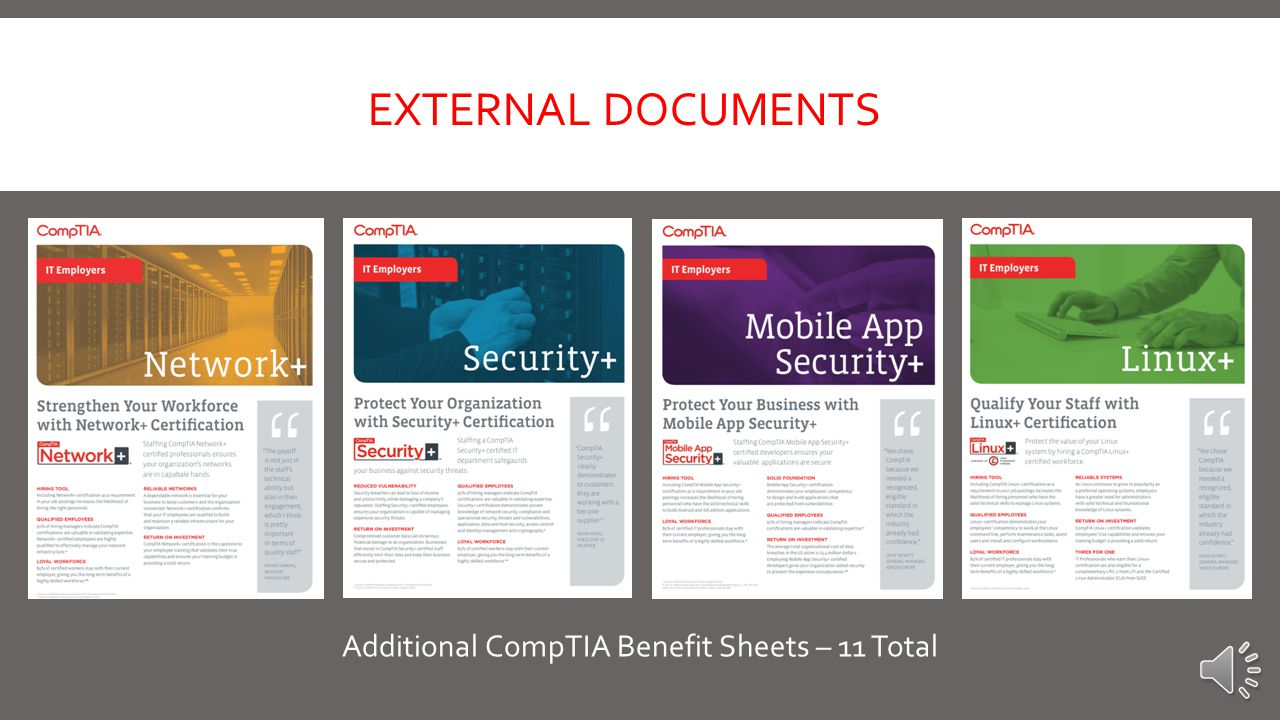 CompTIA A+ Sell Sheet  Includes  A+ Course Titles / Days of Training / Pricing  Different A+ Options  Course Outlines  Course Overview  Section on Why CompTIA A+  List of Relevant Jobs for certification EXTERNAL DOCUMENTS