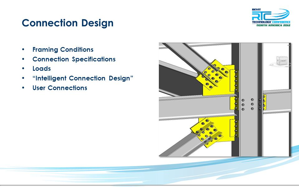 """Connection Design Framing Conditions Connection Specifications Loads """"Intelligent Connection Design"""" User Connections"""