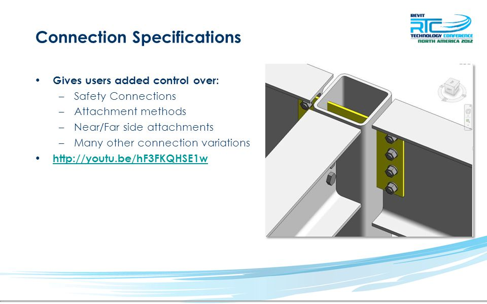 Connection Specifications Gives users added control over: –Safety Connections –Attachment methods –Near/Far side attachments –Many other connection va