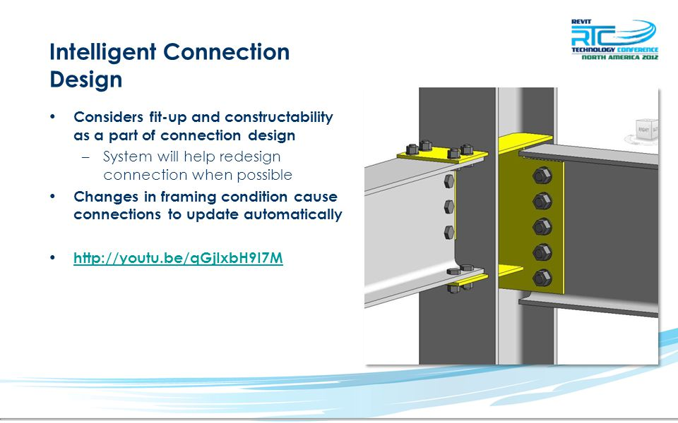 Intelligent Connection Design Considers fit-up and constructability as a part of connection design –System will help redesign connection when possible