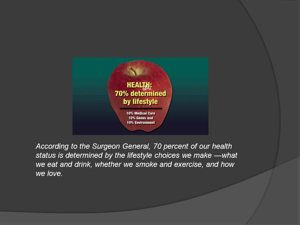 According to the Surgeon General, 70 percent of our health status is determined by the lifestyle choices we make —what we eat and drink, whether we smoke and exercise, and how we love.
