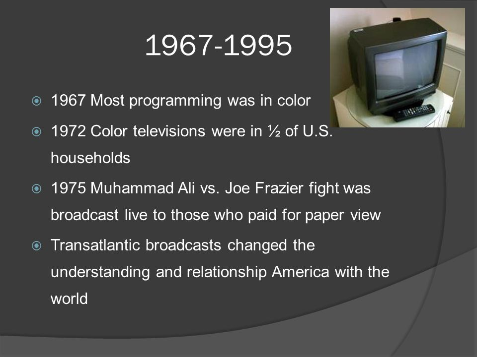 1967-1995  1967 Most programming was in color  1972 Color televisions were in ½ of U.S.