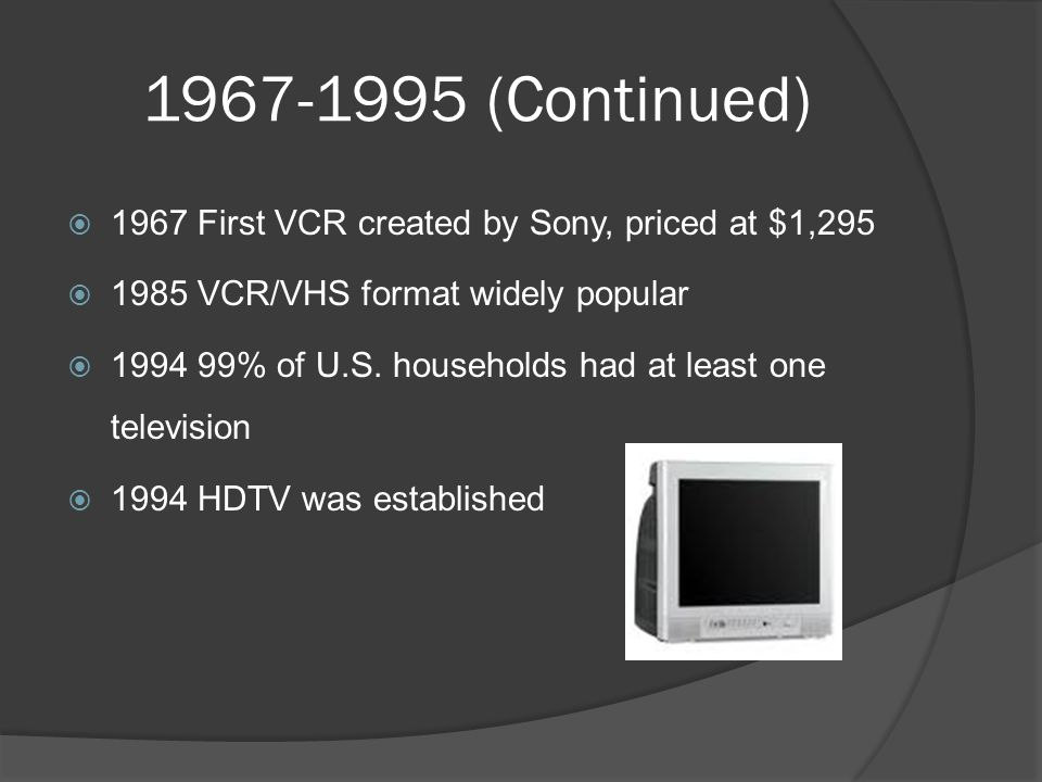1967-1995 (Continued)  1967 First VCR created by Sony, priced at $1,295  1985 VCR/VHS format widely popular  1994 99% of U.S.