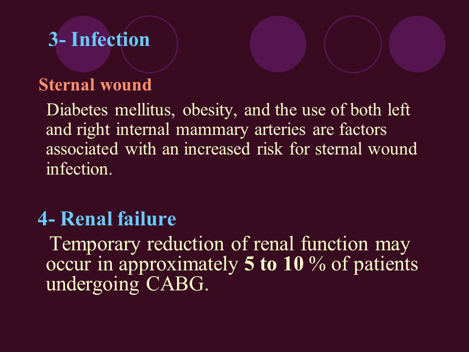 3- Infection Sternal wound Diabetes mellitus, obesity, and the use of both left and right internal mammary arteries are factors associated with an inc