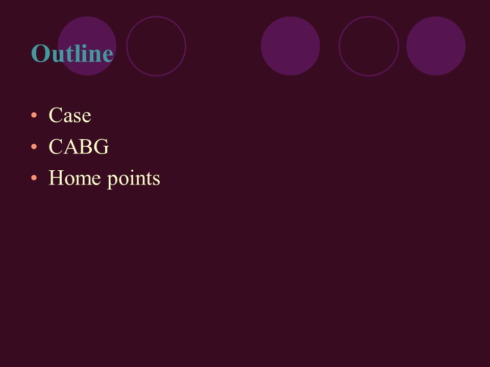 Outline Case CABG Home points