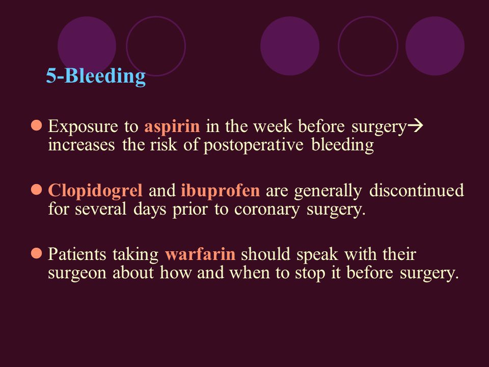 5-Bleeding Exposure to aspirin in the week before surgery  increases the risk of postoperative bleeding Clopidogrel and ibuprofen are generally disco