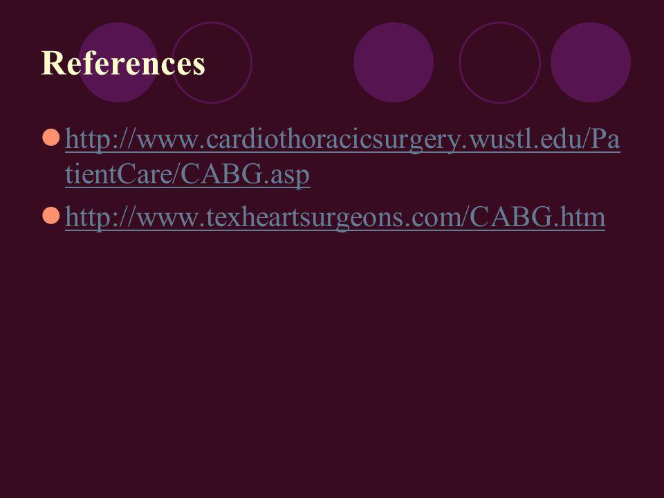 References http://www.cardiothoracicsurgery.wustl.edu/Pa tientCare/CABG.asp http://www.cardiothoracicsurgery.wustl.edu/Pa tientCare/CABG.asp http://www.texheartsurgeons.com/CABG.htm