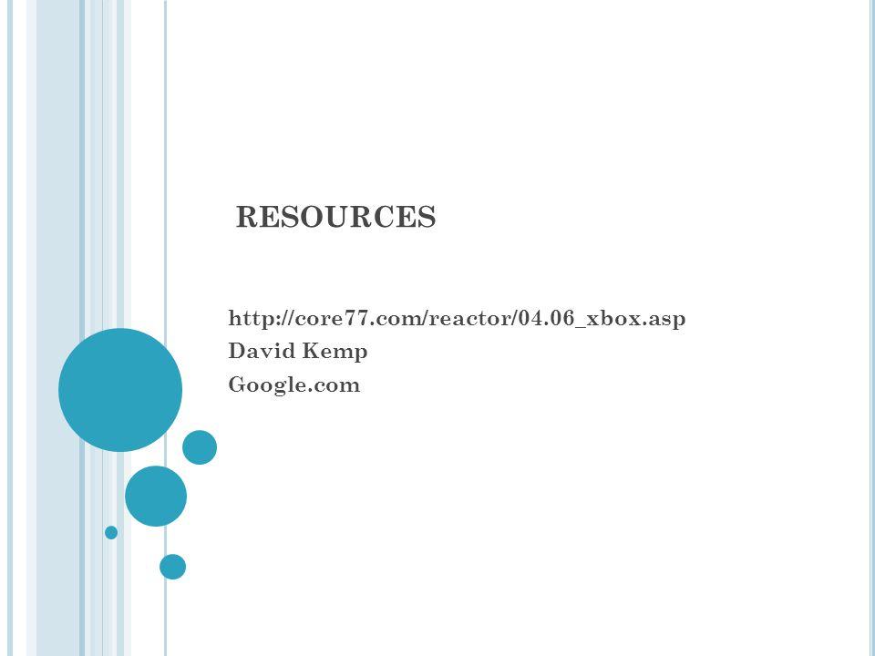 RESOURCES http://core77.com/reactor/04.06_xbox.asp David Kemp Google.com