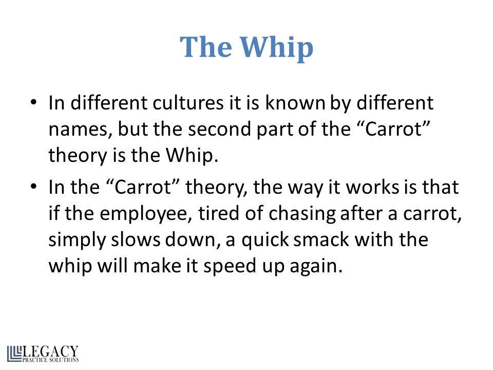 The Whip In different cultures it is known by different names, but the second part of the Carrot theory is the Whip.