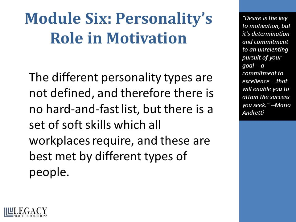 Module Six: Personality's Role in Motivation The different personality types are not defined, and therefore there is no hard-and-fast list, but there is a set of soft skills which all workplaces require, and these are best met by different types of people.