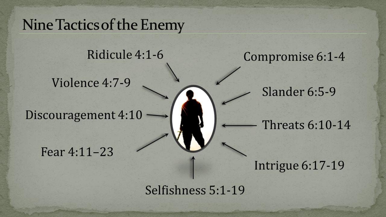 Ridicule 4:1-6 Fear 4:11–23 Violence 4:7-9 Selfishness 5:1-19 Compromise 6:1-4 Intrigue 6:17-19 Threats 6:10-14 Slander 6:5-9 Discouragement 4:10