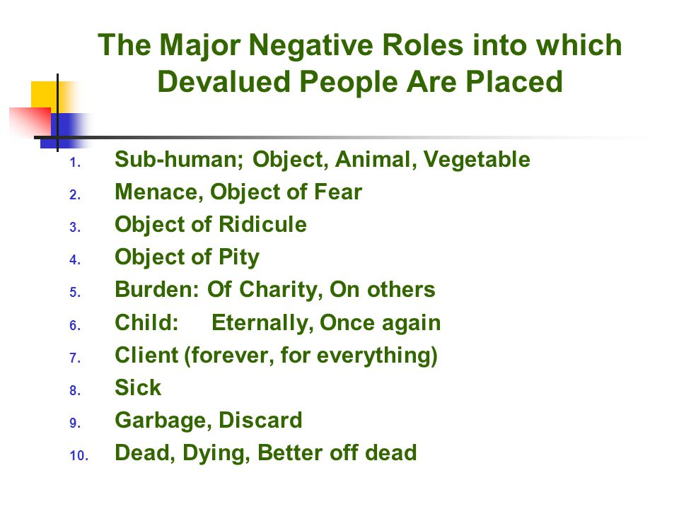 The Major Negative Roles into which Devalued People Are Placed 1.