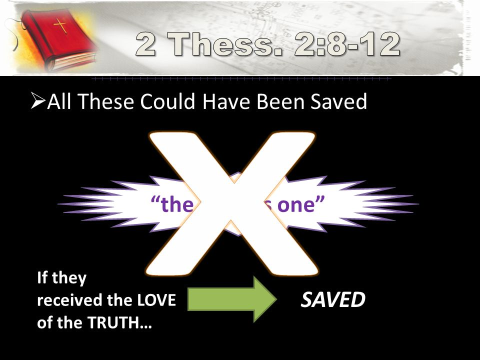  All These Could Have Been Saved the lawless one If they received the LOVE of the TRUTH… SAVED