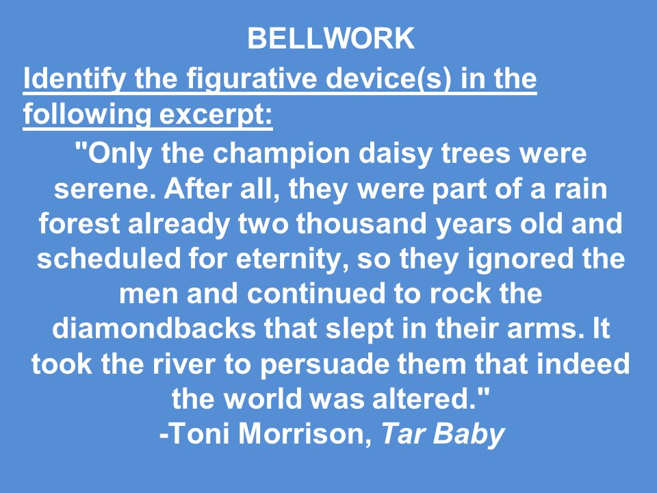 BELLWORK Identify the figurative device(s) in the following excerpt: Only the champion daisy trees were serene.