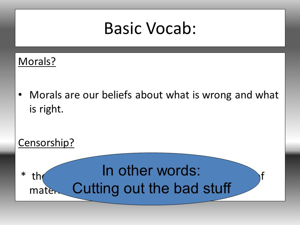 Basic Vocab: Morals. Morals are our beliefs about what is wrong and what is right.