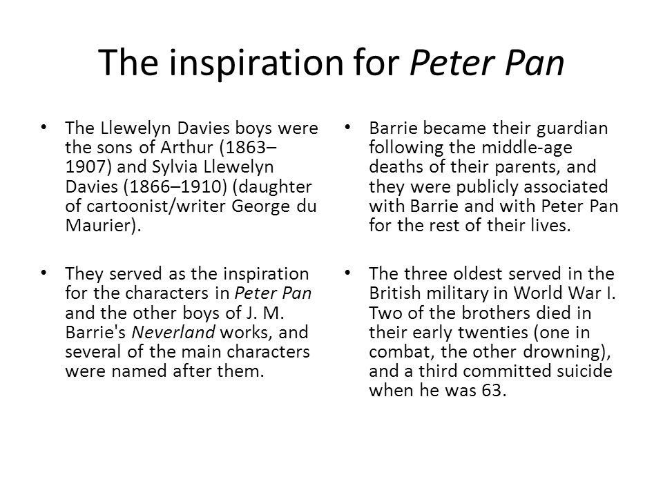 The inspiration for Peter Pan The Llewelyn Davies boys were the sons of Arthur (1863– 1907) and Sylvia Llewelyn Davies (1866–1910) (daughter of cartoo