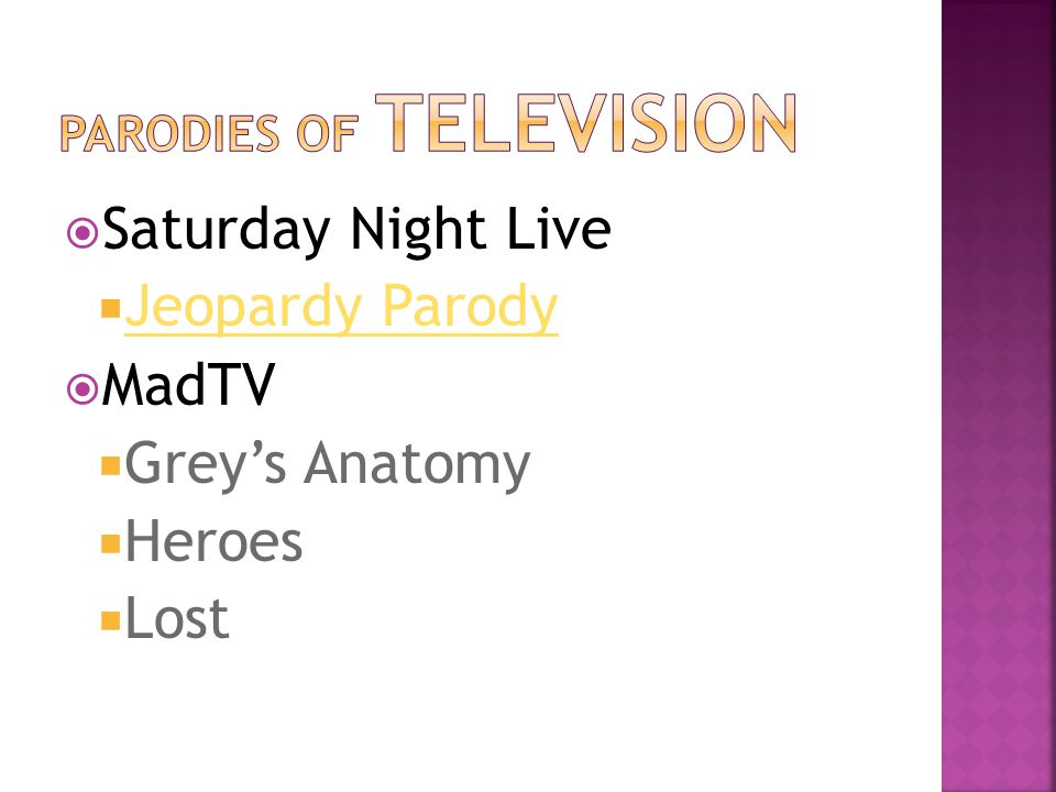  Saturday Night Live  Jeopardy Parody Jeopardy Parody  MadTV  Grey's Anatomy  Heroes  Lost