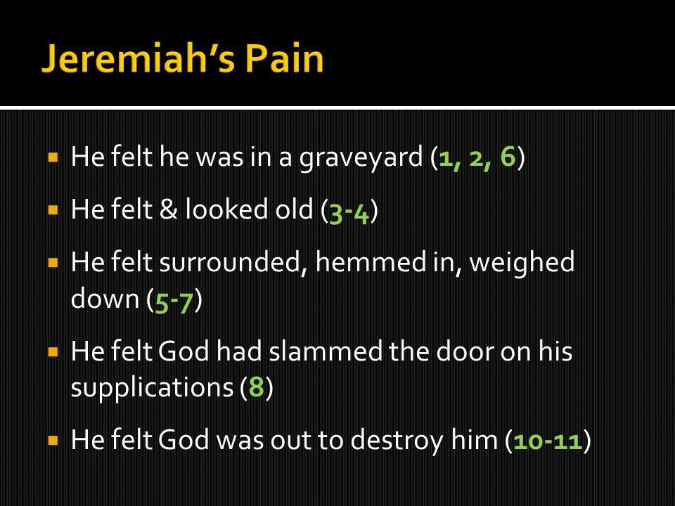  He felt he was in a graveyard (1, 2, 6)  He felt & looked old (3-4)  He felt surrounded, hemmed in, weighed down (5-7)  He felt God had slammed t
