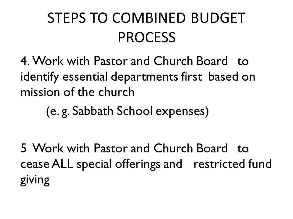 STEPS TO COMBINED BUDGET PROCESS 4.
