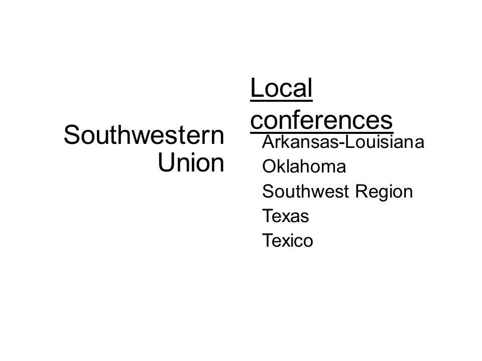 Local conferences Arkansas-Louisiana Oklahoma Southwest Region Texas Texico Southwestern Union
