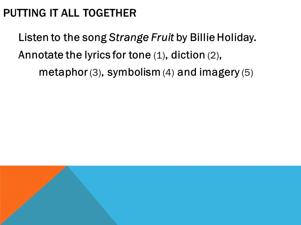 PUTTING IT ALL TOGETHER Listen to the song Strange Fruit by Billie Holiday.