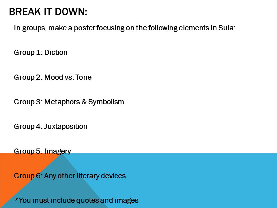 BREAK IT DOWN: In groups, make a poster focusing on the following elements in Sula: Group 1: Diction Group 2: Mood vs.