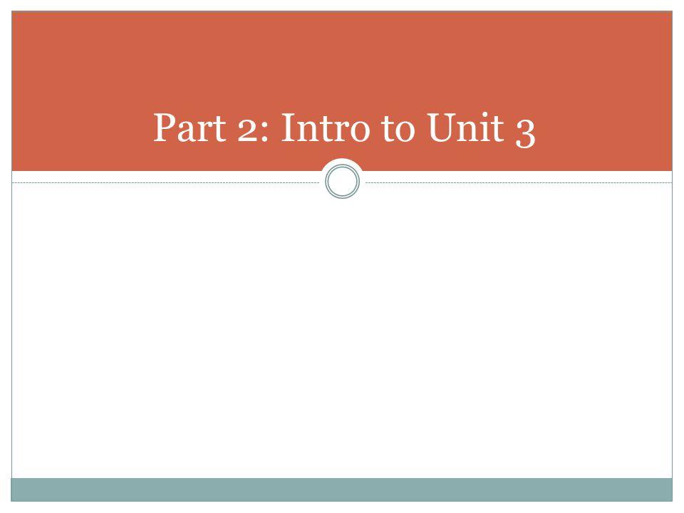 Part 2: Intro to Unit 3