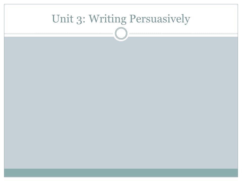 Unit 3: Writing Persuasively