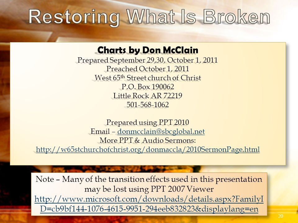 Charts by Don McClain Prepared September 29,30, October 1, 2011 Preached October 1, 2011 West 65 th Street church of Christ P.O.