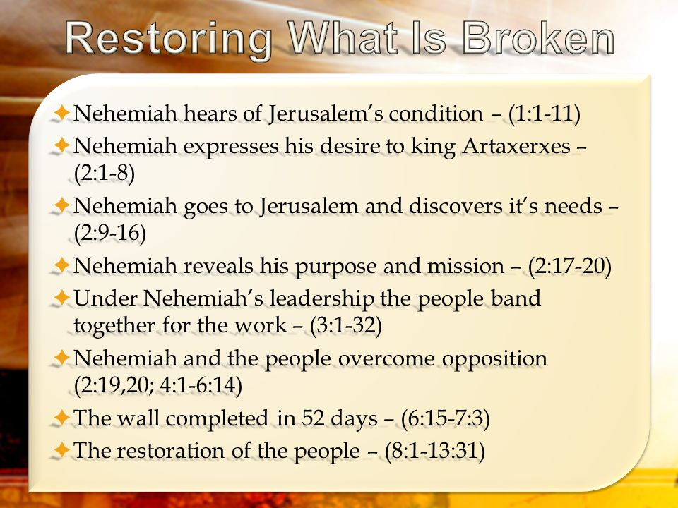  Nehemiah hears of Jerusalem's condition – (1:1-11)  Nehemiah expresses his desire to king Artaxerxes – (2:1-8)  Nehemiah goes to Jerusalem and discovers it's needs – (2:9-16)  Nehemiah reveals his purpose and mission – (2:17-20)  Under Nehemiah's leadership the people band together for the work – (3:1-32)  Nehemiah and the people overcome opposition (2:19,20; 4:1-6:14)  The wall completed in 52 days – (6:15-7:3)  The restoration of the people – (8:1-13:31)