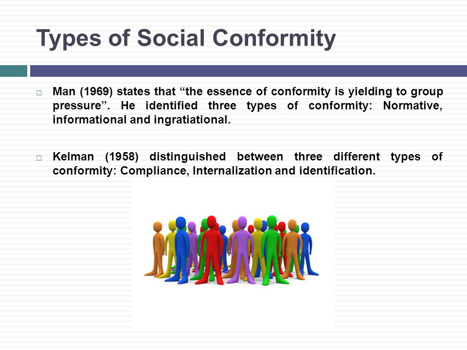 Types of Social Conformity  Man (1969) states that the essence of conformity is yielding to group pressure .