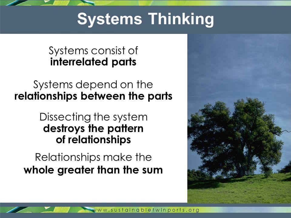 Reductionist Thinking w w w. s u s t a i n a b l e t w i n p o r t s.