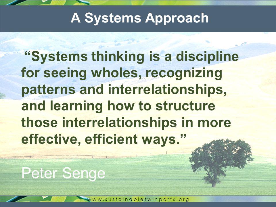 Systems Thinking w w w. s u s t a i n a b l e t w i n p o r t s.