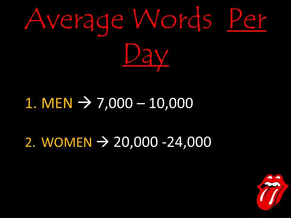Average Words Per Day 1.MEN  7,000 – 10,000 2.WOMEN  20,000 -24,000