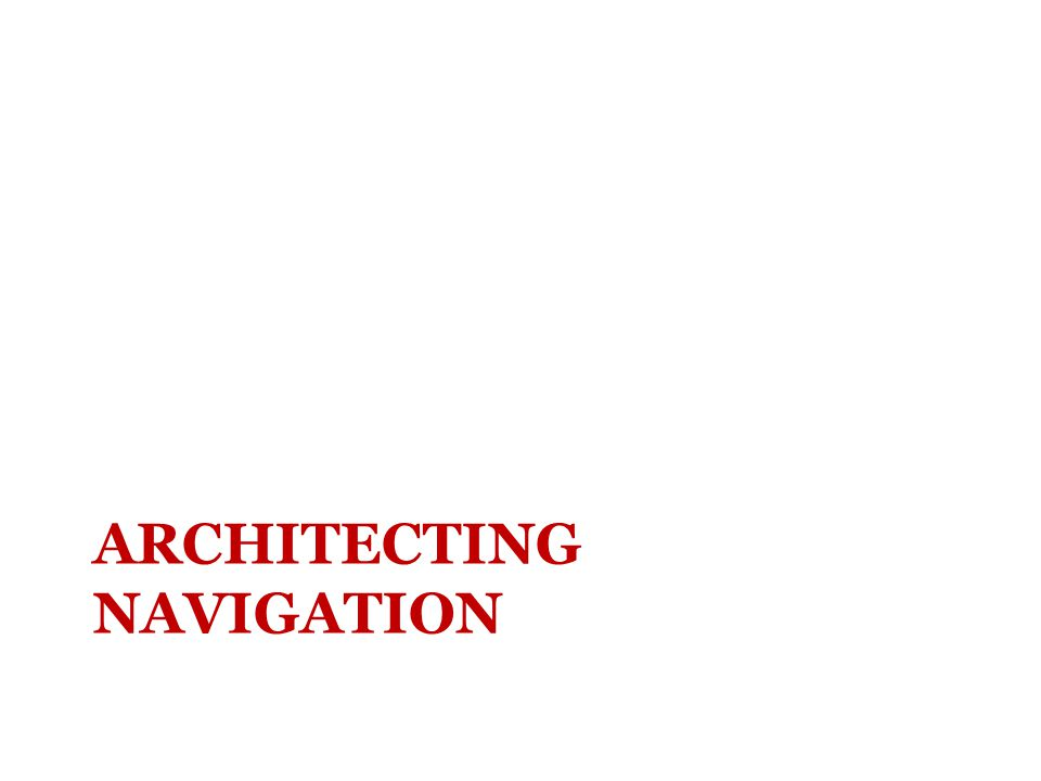 ARCHITECTING NAVIGATION