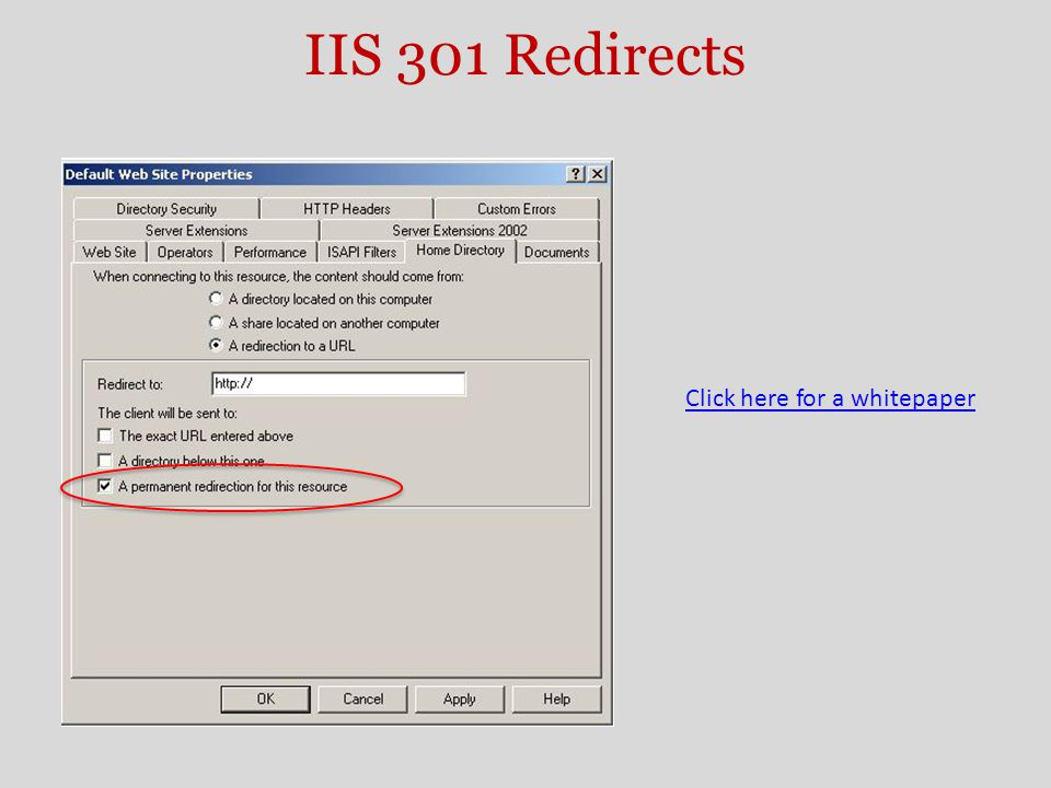 IIS 301 Redirects Click here for a whitepaper