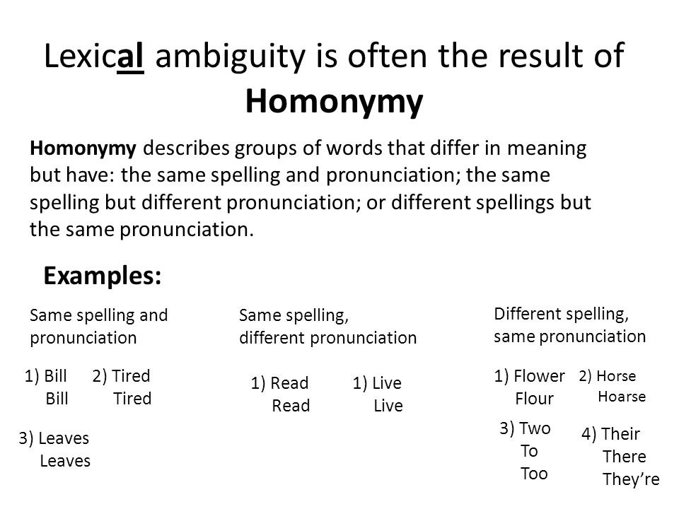 Lexical ambiguity is often the result of Homonymy Homonymy describes groups of words that differ in meaning but have: the same spelling and pronunciation; the same spelling but different pronunciation; or different spellings but the same pronunciation.
