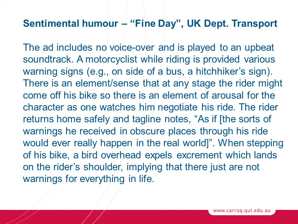 Sentimental humour – Fine Day , UK Dept.