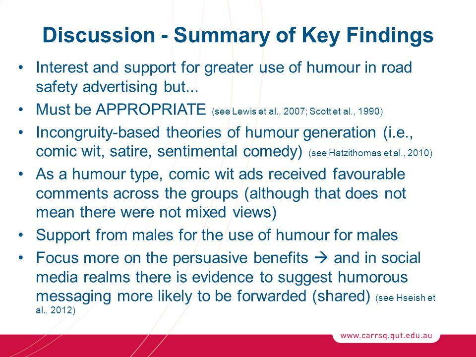 Discussion - Summary of Key Findings Interest and support for greater use of humour in road safety advertising but...