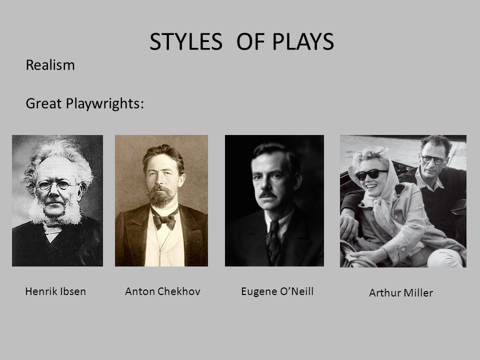 STYLES OF PLAYS Realism Great Playwrights: Henrik IbsenAnton ChekhovEugene O'Neill Arthur Miller