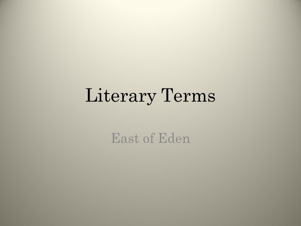 Stuff you already know You will be reviewing literary terms that you have already learned.